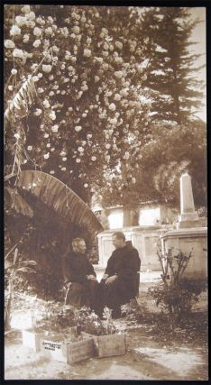 1908 Photograph of Two Franciscan Monks Seated in a Tropical Memorial Garden Signed N. Maceo....