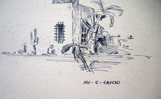 Circa 1920 Two Finely Drawn Pen and Ink Drawings of the Exteriors of Norman and Spanish Style Homes Signed By Joseph C. Cascio