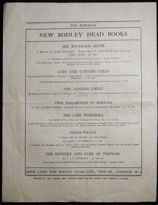 The Bodleian a Journal of Books at the Bodley Head Vol. XIX. No. 3 June, 1927