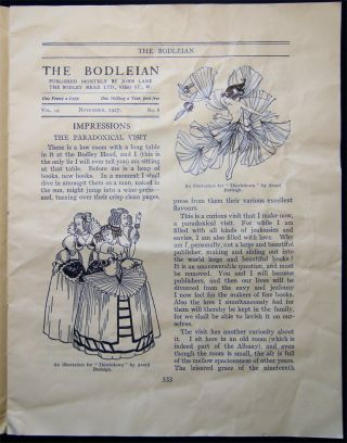 The Bodleian a Journal of Books at the Bodley Head Vol. XIX. No. 8 November, 1927 Special Double Number with Illustrated Article By L. De G. Sieveking
