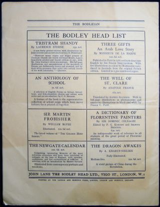 The Bodleian a Journal of Books at the Bodley Head Vol. XX. No. 7 October, 1928