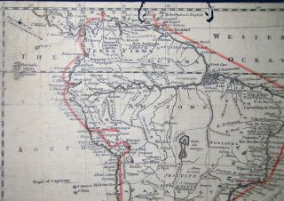 South America Drawn from The best Maps, By T. Jefferys, Geographer to His Royal Highness the Prince of Wales (with) Hand-drawn Journey Route