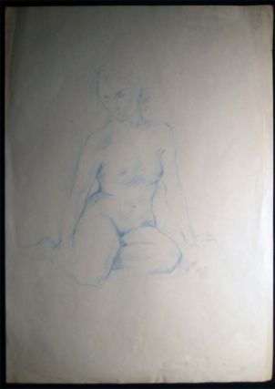 1990 Seated Female Nude Drawing in Blue Pencil Signed S. Baer '90