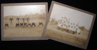 1928 Two Large Format Cabinet Card Photographs of a Football Team and a Candid Fraternal Group of...