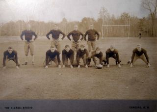 1928 Two Large Format Cabinet Card Photographs of a Football Team and a Candid Fraternal Group of Boys By the Kimball Studio Concord, N.H.