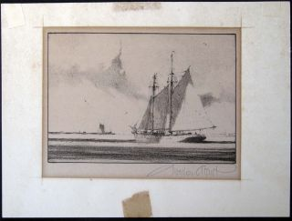 Off Shore Signed Original Lithograph By Gordon Grant