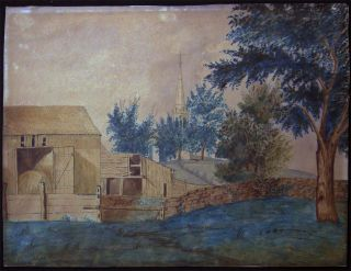Circa 1880 Original Folk Art Pastoral Farm and Church Scene Pen & Ink and Watercolor on Paper....