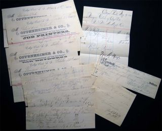 "1884 Group of Manuscript & Printed Ephemera for the Theatre & Dance Club Business of the ""Unique..."
