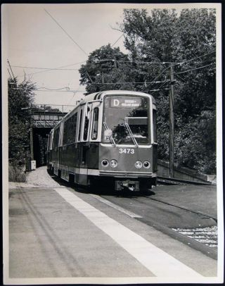 Photograph of MBTA Green Line Streetcar Railway Cars Outbound at Newton Center, Mass. Americana -...