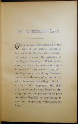 A Practical Treatise on the Incandescent Lamp