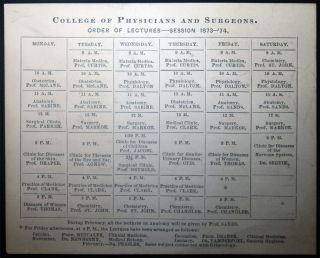 College of Physicians and Surgeons. Order of Lectures - Session 1873 - '74 (Also) Order of...