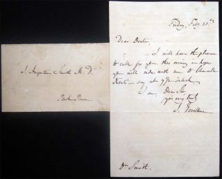 Circa 1847 Autograph Note Dated Friday, Feby. 21st Signed By J. Goodhue Sent to Dr. J. Augustin...