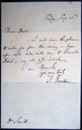 Circa 1847 Autograph Note Dated Friday, Feby. 21st Signed By J. Goodhue Sent to Dr. J. Augustin Smith Park Place N.Y. Regarding a Visit to Chancellor Kent's
