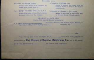 1894 Invitation to the Members of the Historical Associations and Patriotic Hereditary Societies of the United States Stock Offering Circular from The Historical Register Publishing Co.