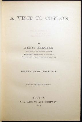 A Visit to Ceylon By Ernst Haeckel Translated By Clara Bell