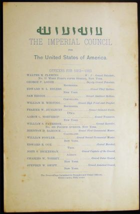 The Imperial Council Ancient Arabic Order of the Nobles of the Mystic Shrine, for the United States of America. Eighth Annual Proceedings, June 7, 1882