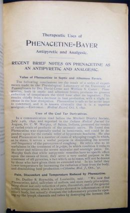1892 Three Descriptive Pamphlets of Pharmaceutical Specialties of the Farbenfabriken vorm Friedr. Bayer & Co. Supplied By W.H. Schieffelin & Co. New York Sole Agents: Europhen; Salophen; Phenacetine-Bayer Sulfonal-Bayer
