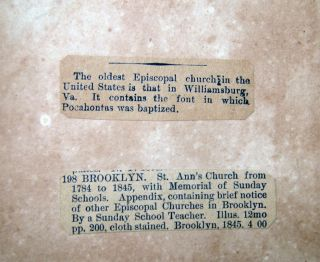 St. Ann's Church, (Brooklyn, New York,) from the Year 1784 to the Year 1845, with a Memorial of the Sunday Schools. To Which is Added, An Appendix, Containing a Brief Notice of the Other Episcopal Churches in Brooklyn. By A Sunday School Teacher