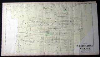 Original Map of Part of Whitestone Village Southern Part Long Island, New York. Americana - 19th...