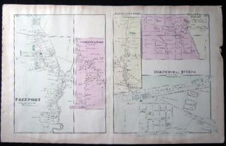Original Map of Woodhaven with Inset Map of South Woodhaven & Maps of Springfield Store Willow Tree Station Inglewood Freeport Greenwich Point Long Island, New York.